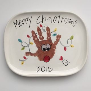 Small Decorative Christmas Plates Lovely Reindeer Hand Print Christmas Plate with Lights Small