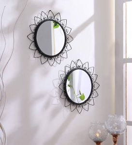 Small Decorative Mirrors Cheap Unique Hosley Decorative Round Iron Wall Mirror 20 32 Cm X 30 48 Cm Black Set Of 2