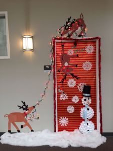 Snoopy Decorating Christmas Tree Best Of Our Christmas Door Decoration First Place Made Snowman