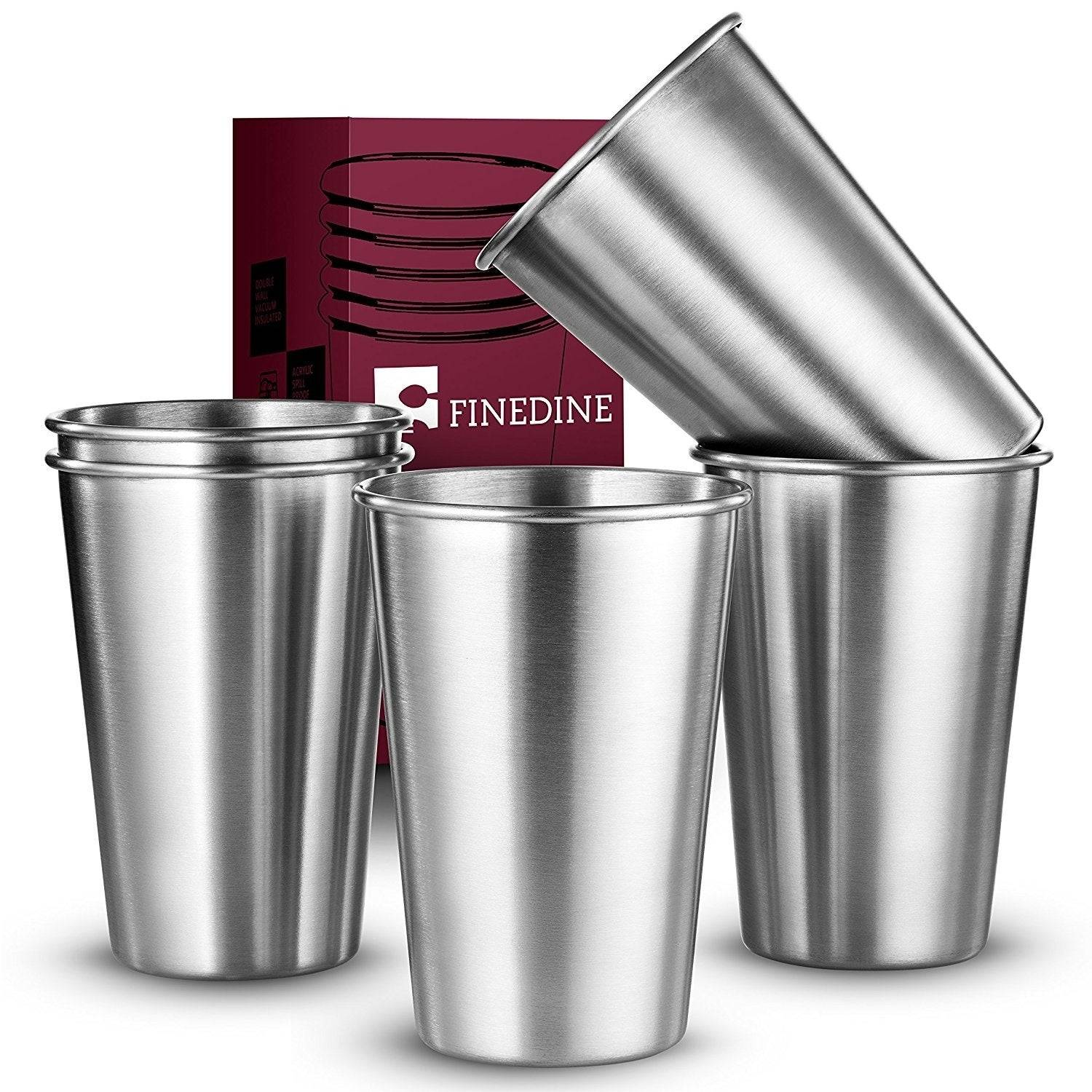 Premium Grade Stainless Steel Pint Cups Water Tumblers 5 Piece Unbreakable Stackable Brushed Metal Drinking Glasses 0f f06b 43d8 817c a38c738a717e