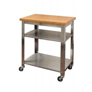 Stainless Steel top Dining Table Beautiful Seville Classics Stainless Steel Kitchen Cart with Bamboo top