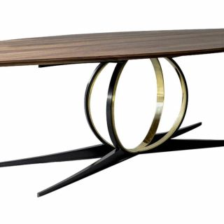 Steel Kitchen Tables Luxury Omega Mahogany Oak Steel and Brass Table by atra In 2019