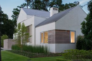 Stucco House with Metal Roof Awesome Linear Garapa Wood Window Accents Coordinate with the Custom