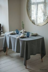 Tablecloths for Home Decor Beautiful Gray Blue Linen Tablecloth Table Decor Handmade Tablecloth