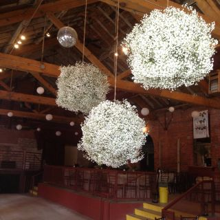Tag Decorative Balls with Flowers Beautiful Baby Breath Balls I Would Love these Hanging Off Of the