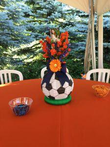 Tag Decorative Balls with Flowers Unique soccer theme Graduation Open House Centerpiece that Li