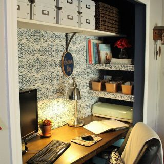 Tiny Office Space Awesome $100 Room Challenge Closet Fice Reveal