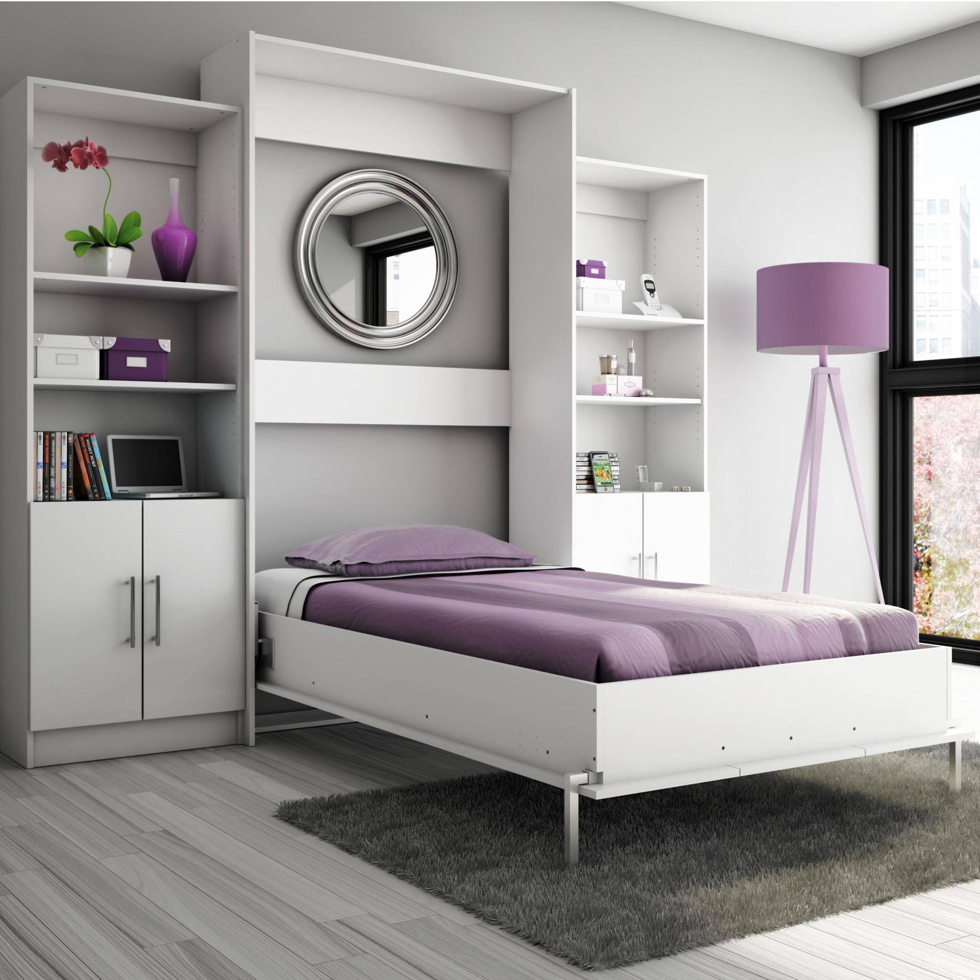Marvelous Design The Grey Wooden Floor Ideas Added With Grey Wall And Purple Modern Murphy Bed Ideas