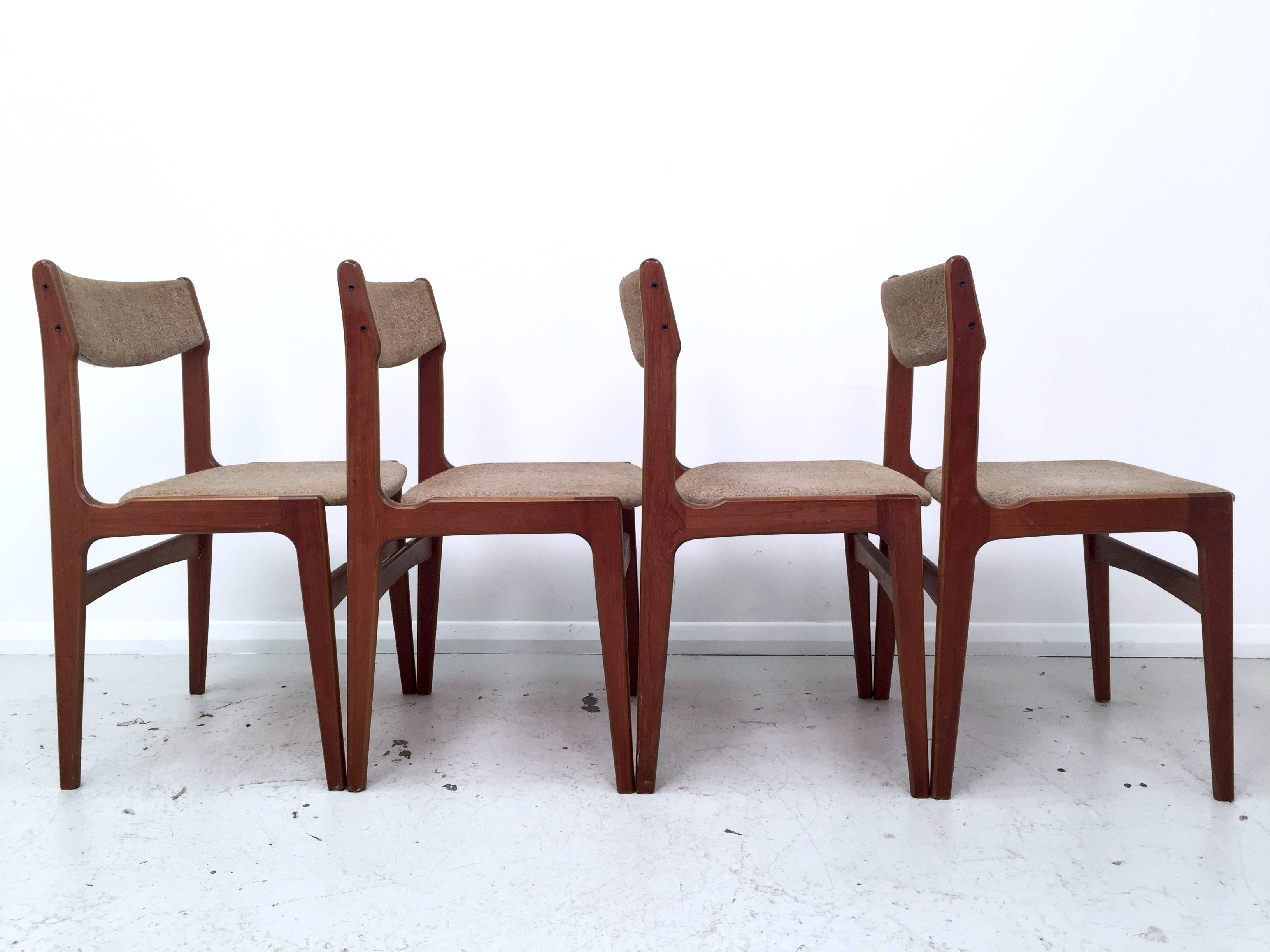 teak dining chairs by erik buch 1960s set of 4 0