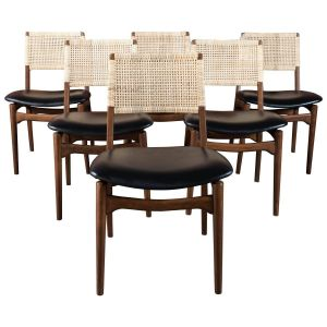 Unique Dining Chairs New Midcentury Danish Modern Walnut and Cane Dining Chairs Set