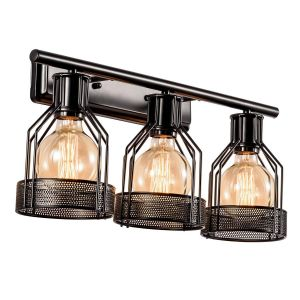 Wall Sconces with Fabric Shades Beautiful Black Vanity Light Industrial Bathroom 3 Lights Retro Cage Wall Sconce Metal Shade Vintage Wall Lights Fixtures for Indoor Home Dressing Table Mirror