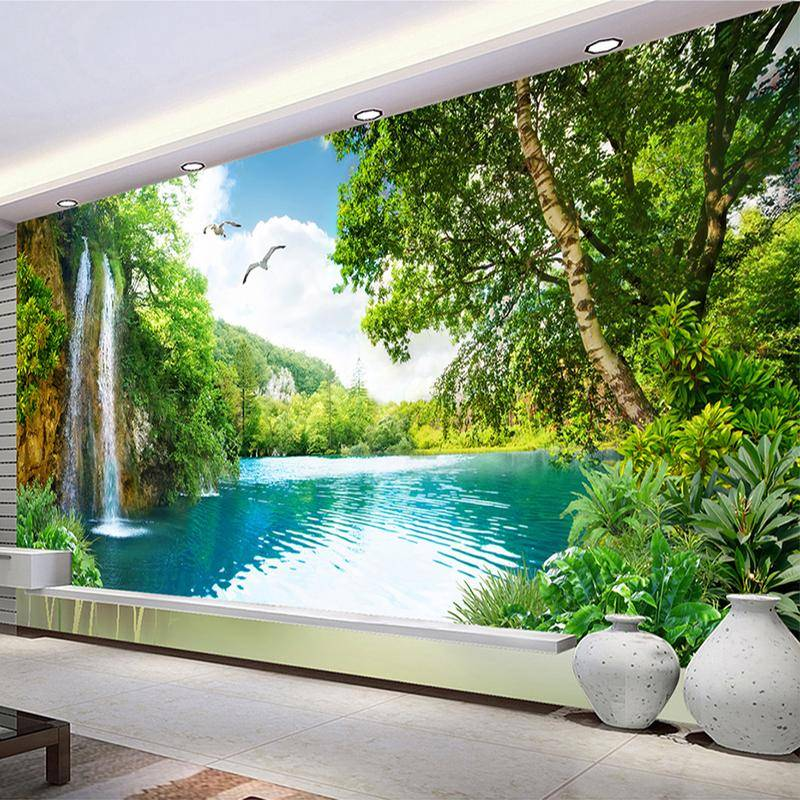 Custom 3D Wall Mural Wallpaper Home Decor Green Mountain Waterfall Nature Landscape 3D Wall Paper b aa 9e2b 4f51 ad07 6c6bff069f90 2048x