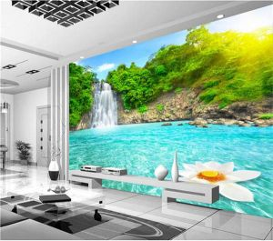 Waterfall Pool Pattern 3d Living Room Beautiful Natural Scenery 3d Wall Mural forest Waterfalls Pools Wallpaper 3d Room Landscape Living Room sofa Backdrop Wall Papers Free Nature Wallpaper