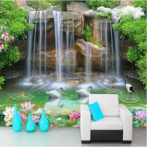 Waterfall Pool Pattern 3d Living Room Luxury 3d Waterfall Pool Swans and Fish Pattern Wallpaper Wall