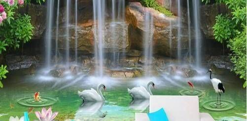 Waterfall Pool Pattern 3d Living Room Luxury 3d Waterfall Pool Swans and Fish Pattern Wallpaper Wall