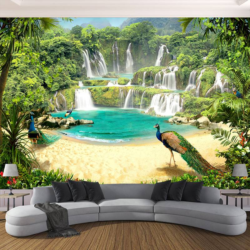 Custom 3D Wallpaper Murals Waterfall Peacock Lake Landscape 3D Effect Living Room Sofa TV Background Wall