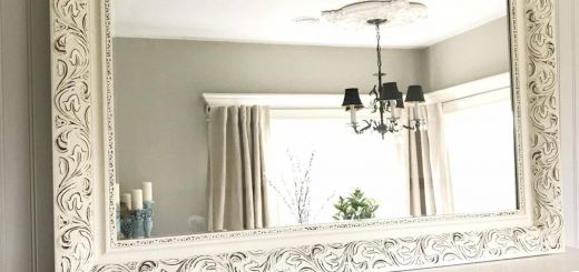 White Decorative Wall Mirror Luxury Cream and Black Bathroom Mirror Shabby Chic Style Farmhouse