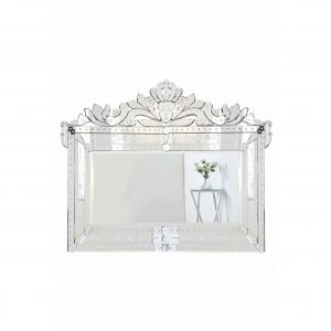White Framed Decorative Mirror Lovely Venetian 42 5 In Transitional Mirror In Clear