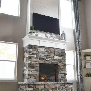 White Stone Fireplace Beautiful Diy Fireplace with Stone & Shiplap