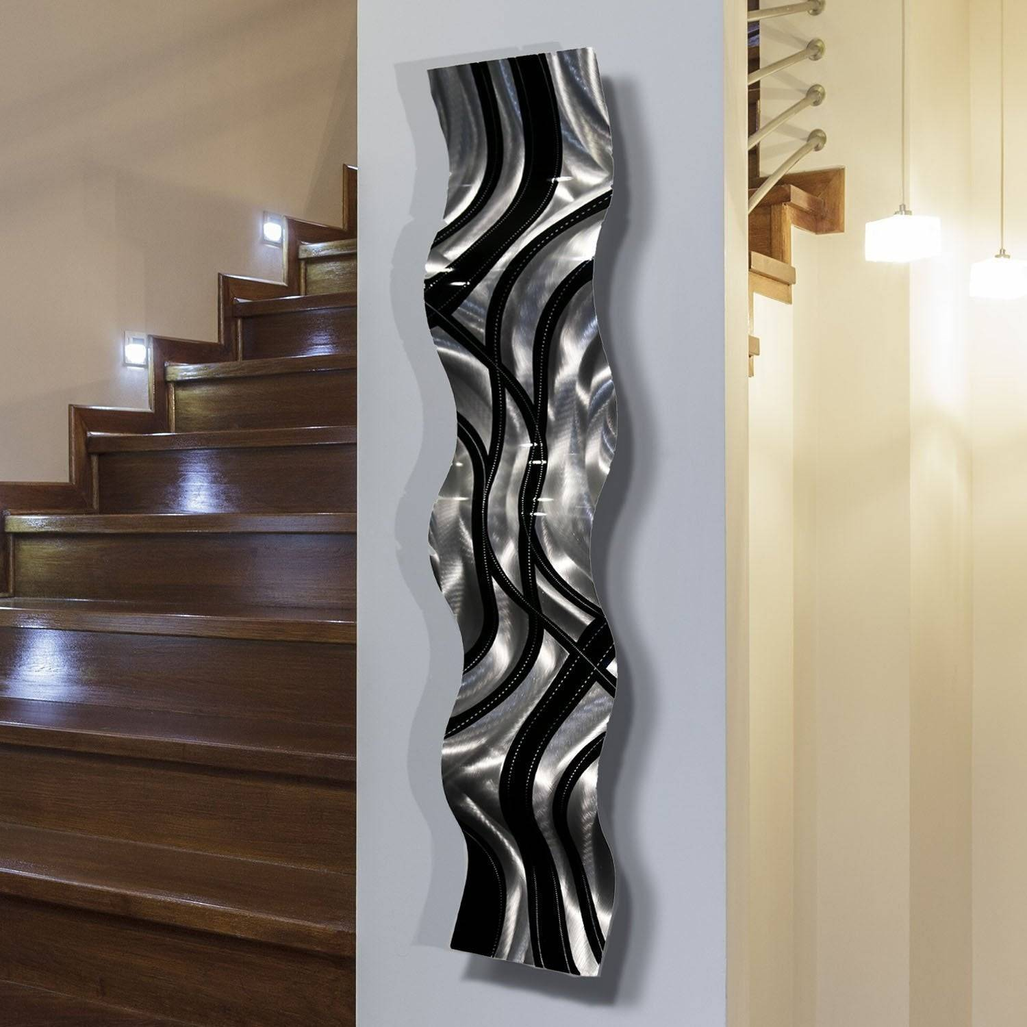 Statements2000 Black Silver Abstract Metal Wall Art Accent Sculpture Decor by Jon Allen Crossroads Wave
