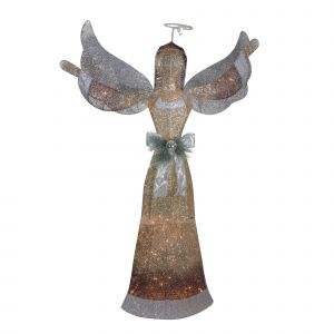 "Yard Art Christmas Decorations Inspirational 55"" 3d Lighted Glittered Angel Christmas Yard Decoration"
