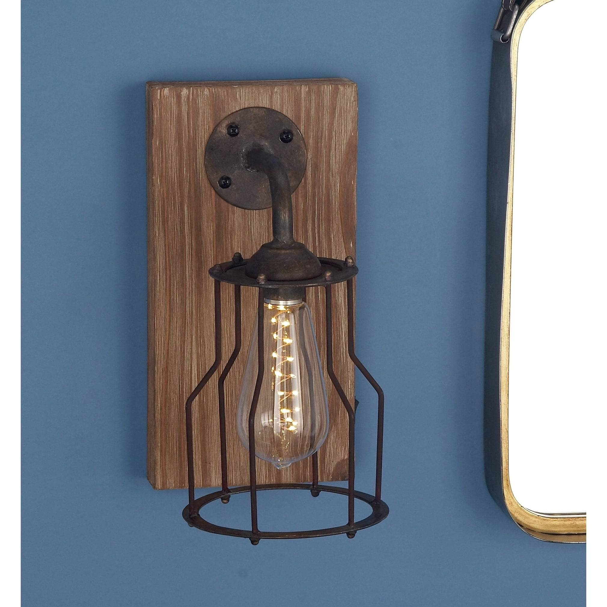 Farmhouse 11 x 6 Inch Wood and Metal Gl LED Wall Sconce by Studio 350 cb587a0e 2d5a 45f3 b68b a0e5d d