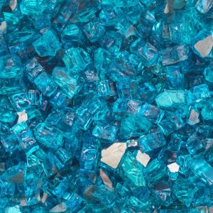 """Blue Fire Granite Fresh Lakeview 1 2"""" Caribbean Blue Reflective Fire Glass 60"""