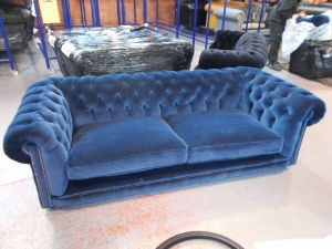 Blue Leather sofa Awesome Hampton 3 Seater Chesterfield sofa In Blue Velvet with 2