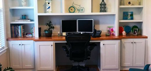 Built In Desk Lovely Custom White Built In Shelving and Desk with Cabinets and