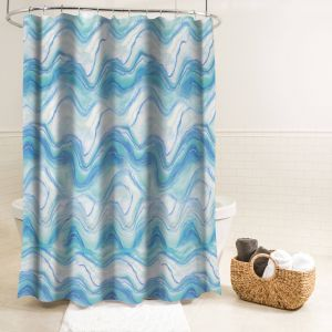 Contemporary Shower Curtains Fresh Splash Home Ozana Marble Polyester Fabric Shower Curtain 70