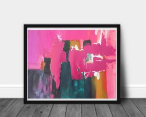 Contemporary Wall Art Unique Pink Teal Blue Abstract Navy Blue Wall Art Abstract