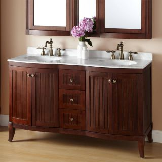 "Double Vanity Bathroom Unique 60"" Palmetto Brown Cherry Double Vanity Bathroom"