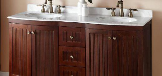 """Double Vanity Bathroom Unique 60"""" Palmetto Brown Cherry Double Vanity Bathroom"""
