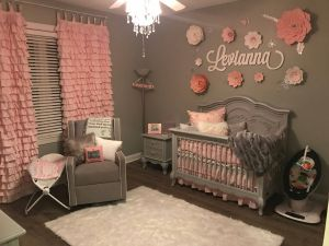 Girl Nursery Ideas Lovely Baby Girl Grey and Pink Bedroom Handmade Drapes and Flowers