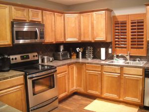 Honey Maple Cabinets Elegant Kitchen Grey Wall Paint and Brown Wooden Oak Cabinet On