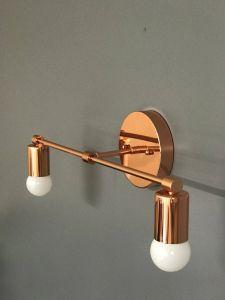 Industrial Bathroom Lighting Beautiful Polished Copper Wall Sconce 2 Bulb Vanity Light Fixture