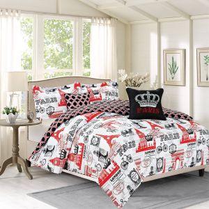 Paris themed Bedroom Elegant Crest Home Bon Voyage Full 5 Piece Paris London Bedding