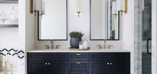 Powder Room Mirrors Luxury Gold Hardware Long Vertical Symmetric Mirrors In 2019