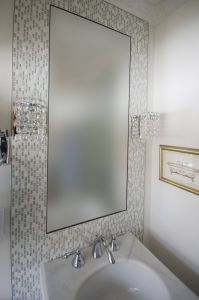 Powder Room Mirrors New Vanity Wall Sconces Installed On the Mosaic Mirror Frame