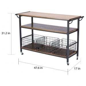 Rolling Kitchen Cart Elegant Metal Frame Rustic Kitchen Cart with Wood Tabletops and