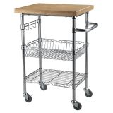 Rolling Kitchen Cart Lovely Bamboo top Chrome Wire Kitchen Cart