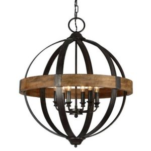 Round Iron Chandelier Awesome orb Chandelier W Open Cage Candelabra Design Wood and Metal