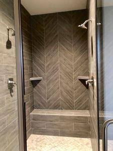 Shower Door Alternative New Custom Gray Herringbone Tiled Shower with Double Shower
