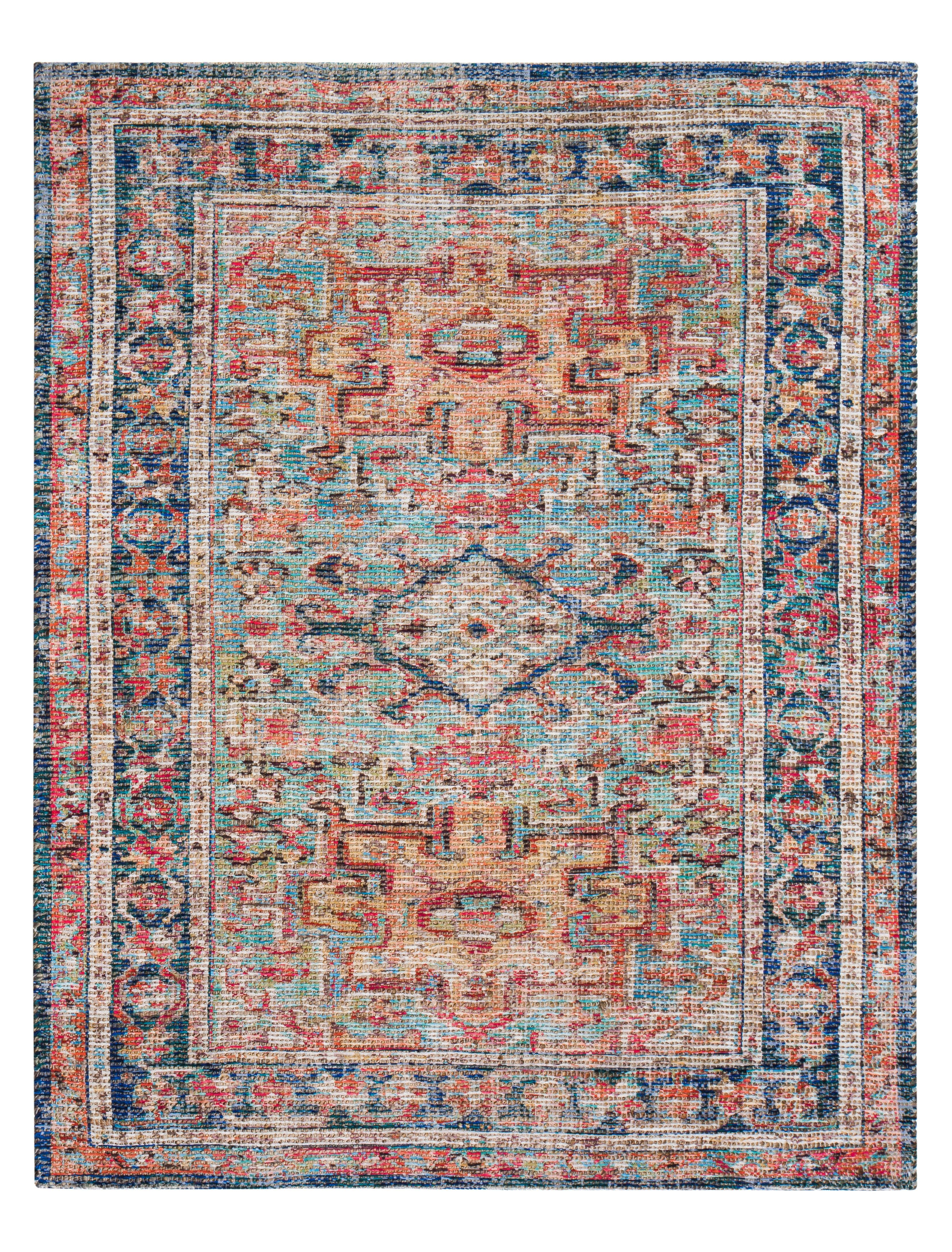 hartville distressed handwoven flatweave redblue area rug