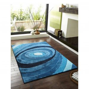 Turquoise area Rug Unique Whirlpool Vibrant Turquoise Navy Blue Hand Tufted Polyester