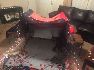 Valentine Romantic Bedroom Decoration Ideas 2020 New Indoor fort & Picnic Romantic Date Night