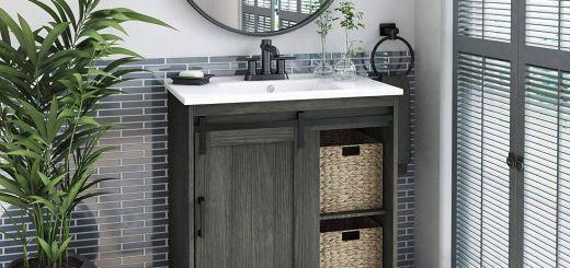 "84 Bathroom Vanity Unique Pamari Cassara 30"" Single Bathroom Vanity with Sliding Barn Door and White Sink Geneva Oak"