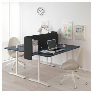 Acrylic Computer Desk Best Of Bekant Desk with Screen Linoleum Blue White