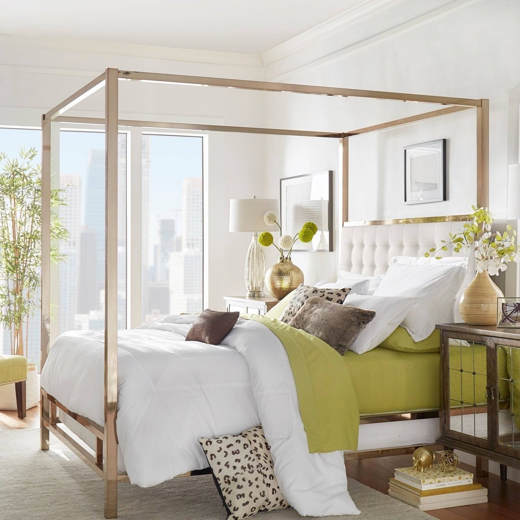 Solivita Champagne Gold Queen size Metal Canopy Bed by iNSPIRE Q Bold a925cb73 48de 4bbc a9e3 0fd e155