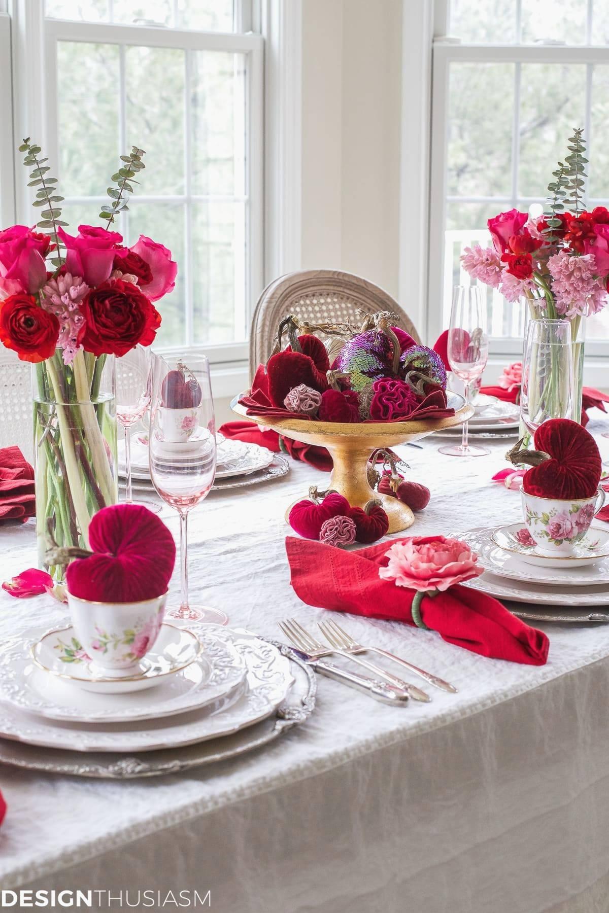 valentine s day decorations plush velvet hearts tablescape for valentines day decor of valentines day decor 2
